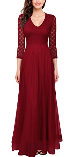 FORTRIC Women 3/4 Sleeves Top Lace See-Through Back Wedding Maxi Bridesmaid Long Dress Burgundy S by FORTRIC