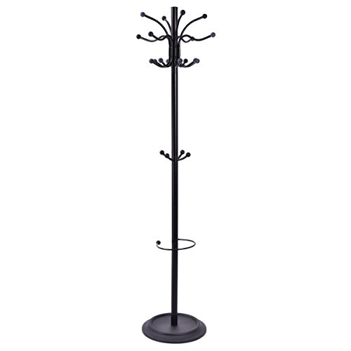 "Tangkula 72"" Metal Coat Hat Tree Stand with Umbrella ..."