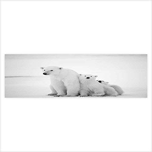 Polar she Bear with Cubs A Polar she Bear with Two Small Bear Cubs Around Snow.Black Aquarium Background Sticker Wallpaper 23.6