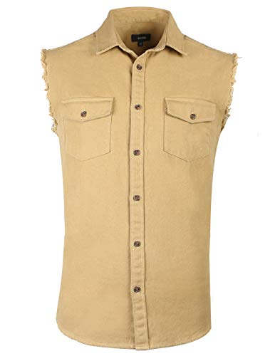 NUTEXROL Mens Sleeveless Denim/Cotton Shirt Biker Vest 2 Front Pockets Khaki 3XL