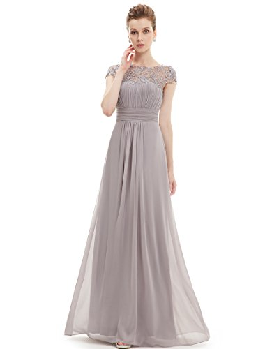 Ever Pretty Womens Formal Floor Length Lace Evening Dress 16 US Grey