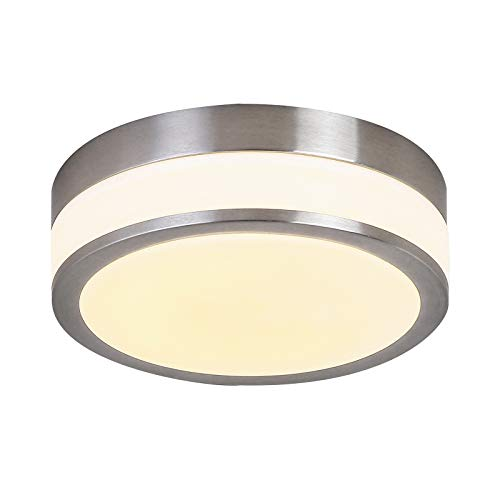 Auffel LED Ceiling Light,IP44 Waterproof Dimmable Flush Mount light Fixture Glass+Metal,11-Inch 3000K 1980ML Clear Round Lamp for Hallways,kitchens,Bedroom,basements,Utility Work Areas ()