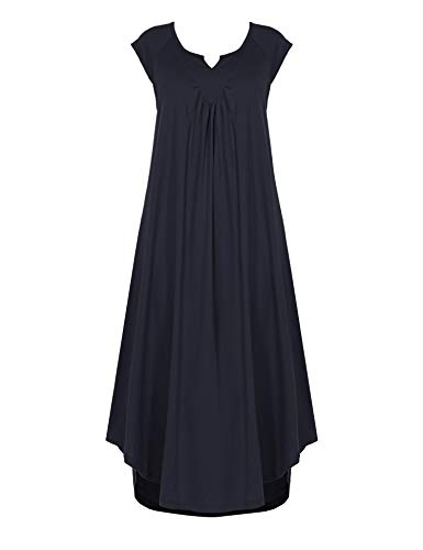 Ekouaer Sleepwear Cotton v Neck Cap Sleeve Sleep Dress Soft Long Nightgowns Dark Blue ()