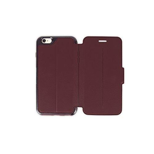 OtterBox STRADA SERIES Leather Wallet Case for iPhone 6 Plus/6s Plus - Frustration Free Packaging - CHIC REVIVAL (WARM BLACK/MAROON - Strada Series