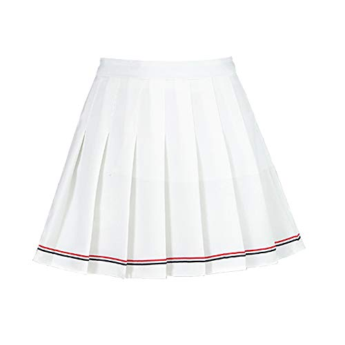 YOUGUE Women's Pleated Skorts with Underwear Covered White -