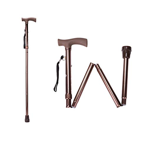 Mens Brown Cane - Folding Cane, Adjustable Height Foldable Walking Cane for Men and Women, Aluminum Portable Hand Walking Stick with Comfortable Handles for Elderly (Brown)