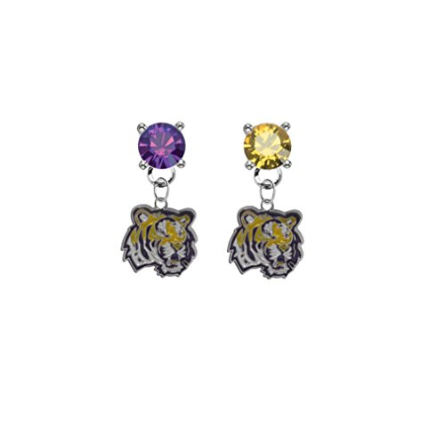 LSU Tigers Purple & Gold Crystal Stud Post Dangle ()