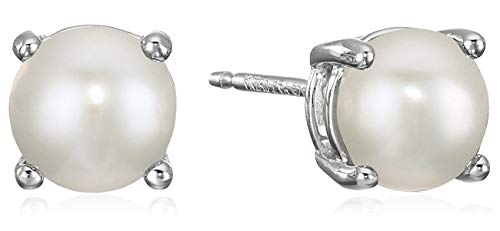 erling Silver Round Freshwater Cultured Pearl Birthstone Stud Earrings (June) ()