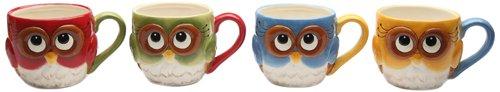 Cosmos Gifts 10913 Owl Mugs, 2-3/4-Inch, Set of 4 (Set Mug Gingerbread)