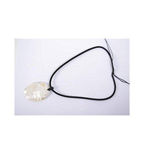 Parure collier & boucles d'oreilles en nacre naturelle. Forme ovale.