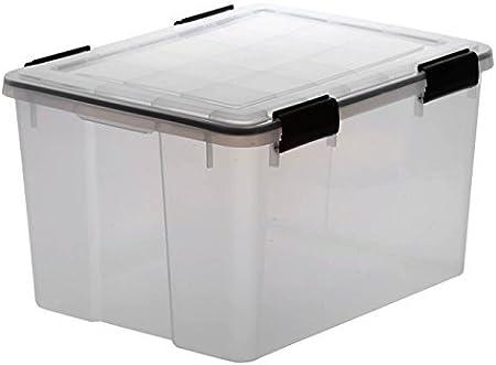 Caja de almacenamiento transparente XL de plástico con junta hermética en la tapa para la humedad,