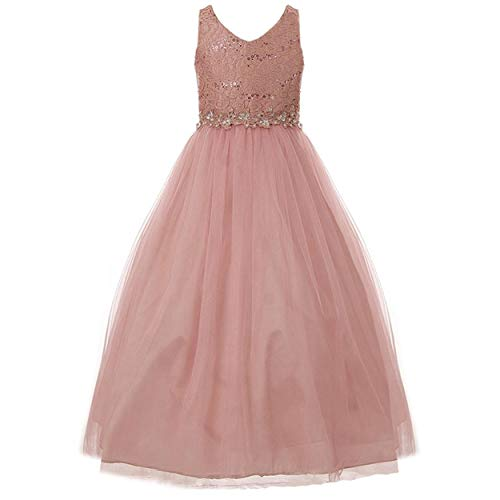 Sleeveless V Neckline Sequins Lace Bodice Flower Applique Full Length Dress - Dusty Rose 12