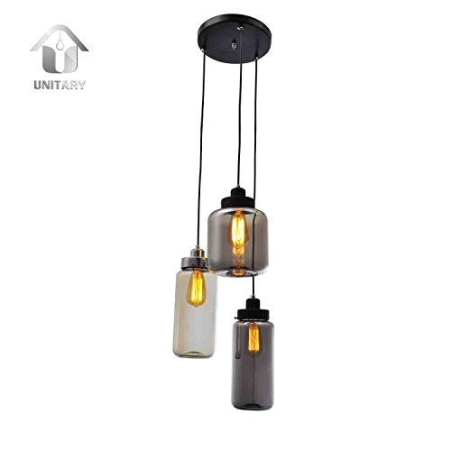 Unitary Brand Vintage Glass Shade Jar Pendant Light Max 180W with 3 Lights Painted Finish Review