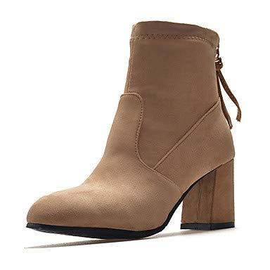 NVXUEZIX Mujer Zapatos Cuero Nobuck Invierno Otoño Botas de Moda Botas Nulo Tacón Cuadrado Dedo Puntiagudo Botines/hasta el Tobillo Mitad de Gemelo, us3.5 / eu33 / uk1.5 / cn32 XIUXIU