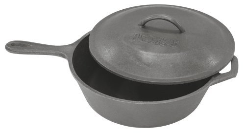 Bayou Classic 3 Qt Cast Iron Skillet with Helper Handle Domed Lid [並行輸入品] B01FVCYI04
