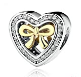 DIY Fashion Heart Bow European CZ Charm Spacer Beads Fit Necklace Bracelet New —