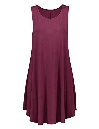 Women's Dress T Shirt Loose Tunic Wine Top Red Tank Fit STYLE Swing Sleeveless ZAN x0Hw5Aacq