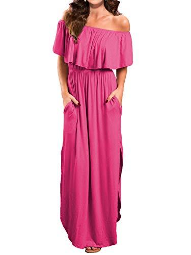 VERABENDI Women's Off Shoulder Summer Casual Long Ruffle Beach Maxi Dress with Pockets Large Rose