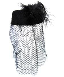 Black Pillbox Hat with Black Netted Veil and Feather