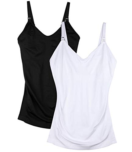 Seamless Nursing Tank Tops for Women Breastfeeding Maternity Camisole Bra Pack of 2 Color Black White