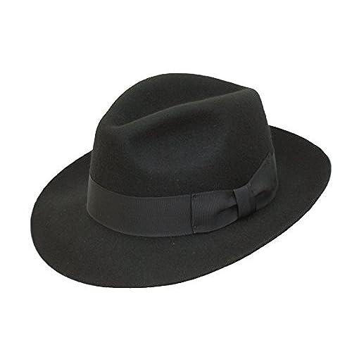 VIZ-UK WEAR Negro de alta calidad hecho a mano para hombre Fedora sombrero  de 4963ff8b696