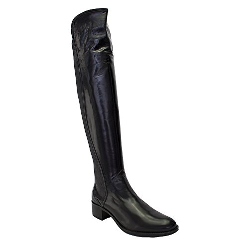 LORENZO MASIERO Black Leather Tall Boot W/Side Zipper Black JQWtTLh3