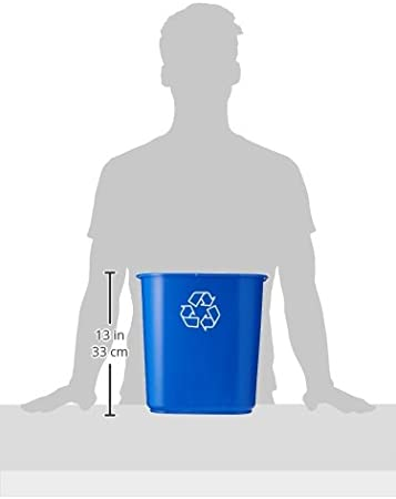 United Solutions EcoSense WB0070 Blue Thirteen Quart Recycling Indoor Wastebasket 13QT Recycling Trash Can//Bin in Blue