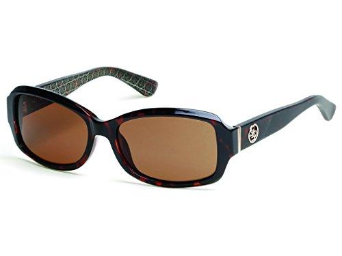 GUESS Women's Gu7410 Rectangular Sunglasses, Dark Havana & Brown, 55 mm