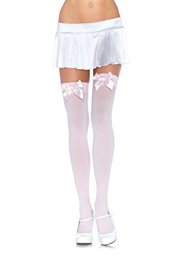 Leg Avenue Women's Opaque Thigh High Stockings with Satin Bow, Light Pink, One Size (Hosiery Sexy)
