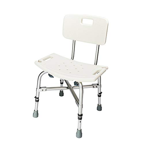 Mefeir 450LBS Heavy Duty Shower Bath Chair with Backrest,Upgraded Aluminum Alloy FDA Approved Non-Slip Adjustable Height, Medical Safety Seat Stool Benches ()