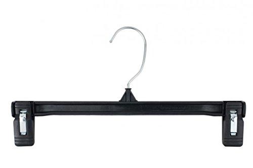 NAHANCO 6012B Pinch Grip Plastic Skirt/Slack Hanger, 12'', Black (Pack of 200)