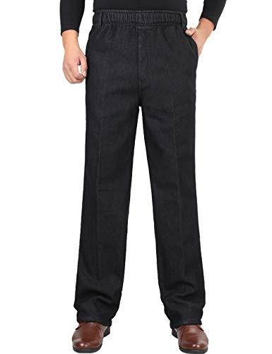 Zoulee Men's Full Elastic Waist Denim Pull On Jeans Straight Trousers Pants Velvet Black 42 ()