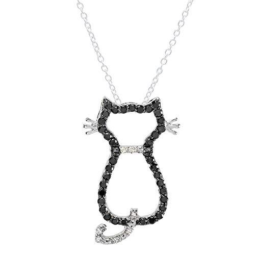 - Dazzlingrock Collection 0.33 Carat (ctw) 14K Round Black & White Diamond Cat Pendant 1/3 CT, White Gold