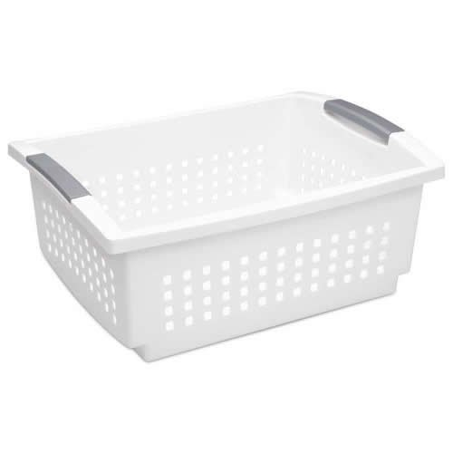 Sterilite 16648006 Stacking Plastic Basket, Large, White