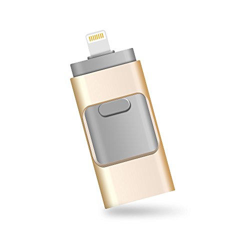 iPhone Lightning Flash Drive 32GB [3-in-1], E&jing USB 3.0 External Storage Memory Stick Adapter Expansion for iPad/iPod/Mac/Android/PC/iOS.(Gold) [Apple MFI Certified]