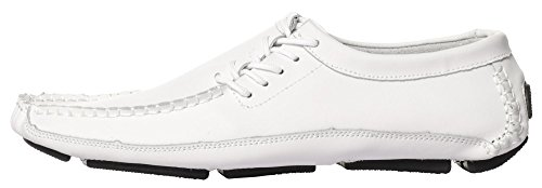 CAIHEE Mens Leather Loafers Driving Shoes Moccasins With Lace-up Details White-1 ZwFtu5