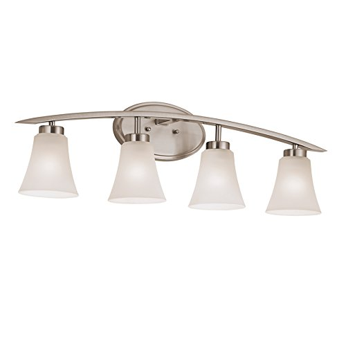 Genial Portfolio 4 Light Lyndsay Brushed Nickel Bathroom Vanity Light   Vanity  Lighting Fixtures   Amazon.com