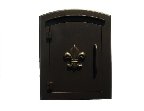 QualArc MAN-1402BZ Manchester Column Mount Mailbox with Decorative Fleur De Lis Door in -