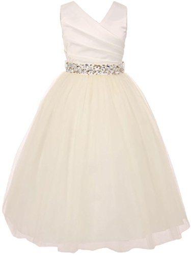 Little Girls Ivory Rhinestone Belt Communion Flowers Girls Dresses Ivory -