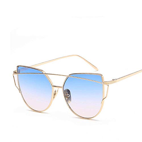 de en Gold Monture White Eye UV400 Sakuldes à Gold Cat Lunettes métal Soleil Blue Color gWwXPp5xq