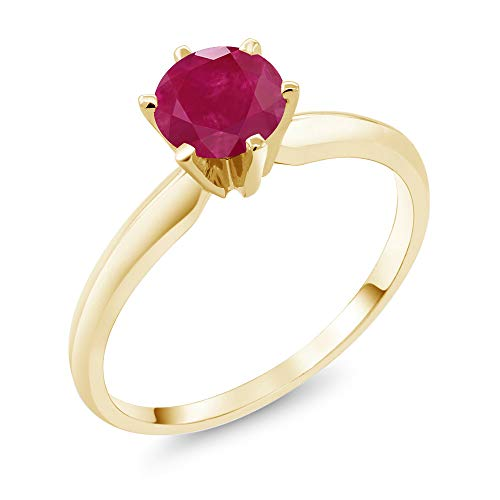 - Gem Stone King 1.00 Ct Red Ruby 14K Yellow Gold Engagement Solitaire Ring (Size 8)