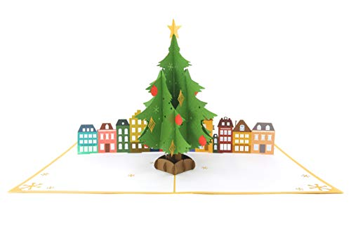(PopLife Christmas Tree & Town Square Pop Up Card, 3D Holiday Card - Merry Xmas Message )