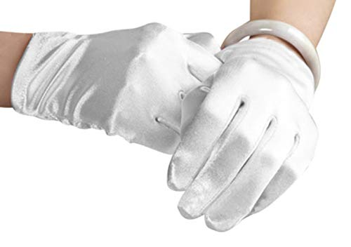 Bridal Waiters Magicians Perform Etiquette Elastic Wrist Short Satin Gloves 8.6