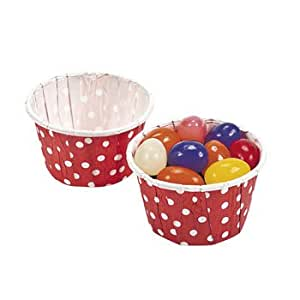 Red Polka Dot Snack Cups - Solid Color Party Supplies & Solid Color Favor Containers 1 Dozen