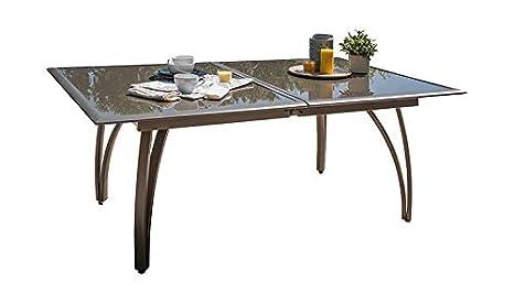 DCB GARDEN T1824-CAPPUCCINO Table alu Cappuccino rallonge ...