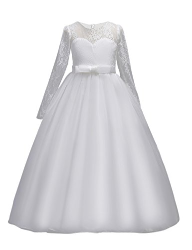 (DOCHEER Fancy Girls Dress Tulle Lace Wedding Bridesmaid Ball Gown Floor Length Dresses 4-14 Years (1022 White, 7-8 Years))