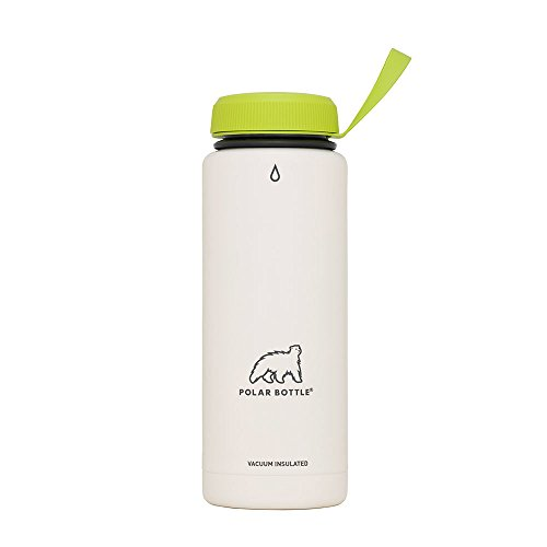 Polar Bottle Thermaluxe - Vacuum Insulated Stainless Steel Travel Mug, White Powder Coat {Standard Cap - Kiwi} 21 ()