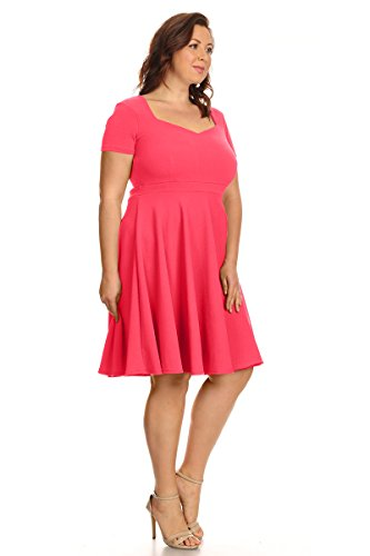in Summer Sleeve Fit Made Dresses USA Flare Coral Plus Size Summer Sweetheart Womens Short wBtFzqPP