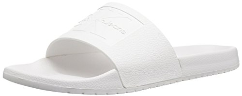 CK Jeans Men's Vincenzo Jelly Slide Sandal, White, 12 M US by Calvin Klein