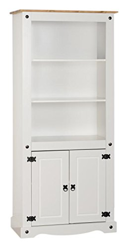 low priced b140f dd0af Seconique Corona 2 Door Display Unit/Bookcase, White/Distressed Waxed Pine,  81x44x182 cm
